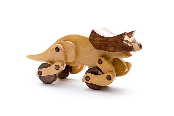 Wooden dinosaur: wooden triceratops - wooden toy - Woodix Toys ©2008