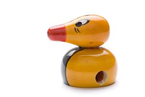 Indi wooden sharpener: yellow duck - wooden toy - Woodix Toys ©2008