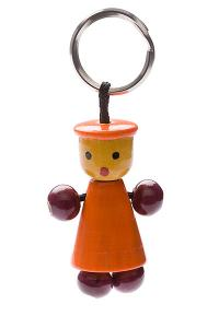 Indi wooden key ring 'orange hat' - wooden toy - Woodix Toys ©2008