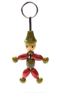 Indi wooden key ring 'green hat with arms' - wooden toy - Woodix Toys ©2008