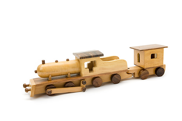 Big wooden train: wooden locomotive with 1 small wooden wagon -  wooden toy - Woodix Toys ©2008