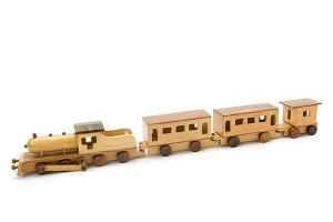 Big wooden train set 2: wooden locomotive with 1 small and 2 big wooden wagons - wooden toy - Woodix Toys ©2008