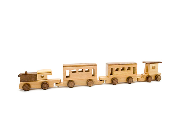 Wooden train: wooden locomotive with 3 wooden wagons - wooden toy - Woodix Toys ©2008