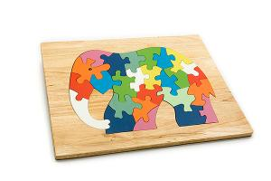 Advanced wooden puzzle board: elephant - wooden toy - Woodix Toys ©2008