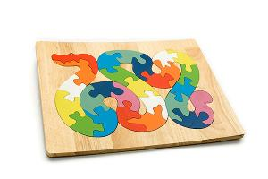 Advanced wooden puzzle board: snake - wooden toy - Woodix Toys ©2008