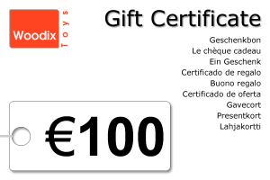 Woodix Toys gift certificate of € 100 - wooden toys - Woodix Toys ©2008