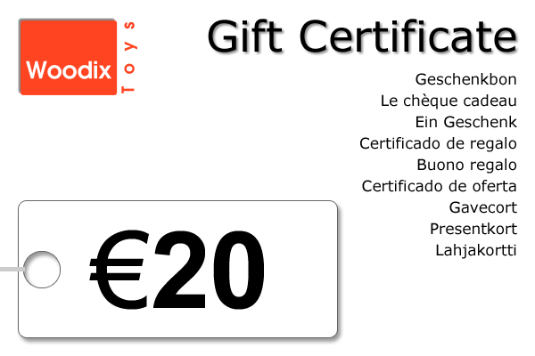 Woodix Toys gift certificate of € 20 - wooden toys - Woodix Toys ©2008