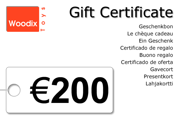Woodix Toys gift certificate of € 200 - wooden toys - Woodix Toys ©2008