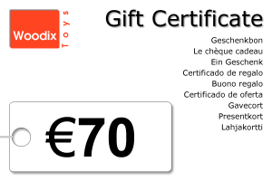 Woodix Toys gift certificate of € 70 - wooden toys - Woodix Toys ©2008