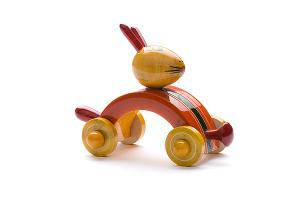 Indi wooden animal car: rabbit - wooden toy - Woodix Toys ©2008
