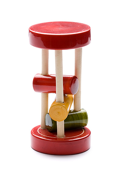 Indi wooden rattle with 3 sticks - wooden toy - Woodix Toys ©2008