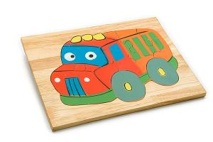 Wooden puzzle board: bus - wooden toy - Woodix Toys ©2008