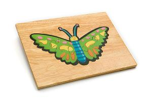 Wooden puzzle board: butterfly - wooden toy - Woodix Toys ©2008