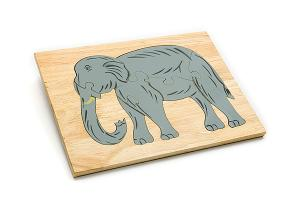 Wooden puzzle board: elephant - wooden toy - Woodix Toys ©2008