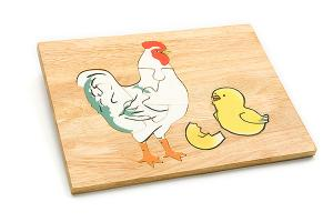 Wooden puzzle board: hen & chicken - wooden toy - Woodix Toys ©2008