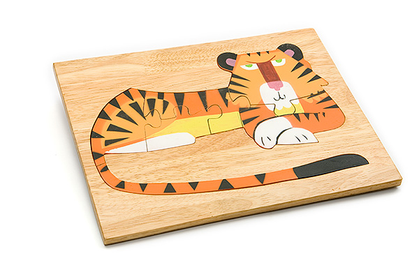 Wooden puzzle board: tiger - wooden toy - Woodix Toys ©2008