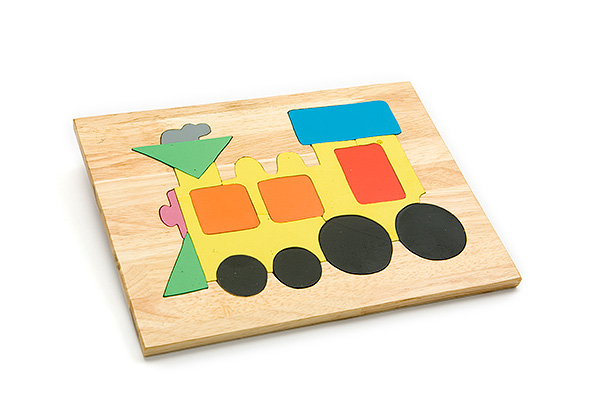 Wooden puzzle board: train - wooden toy - Woodix Toys ©2008