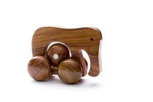 Rolling wooden elephant with moving ball - wooden toy - Woodix Toys ©2008