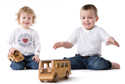 Thibaud and Viktor playing with the wooden bus and the wooden car - wooden toys - Woodix Toys ©2008