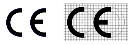 CE mark without and with grid